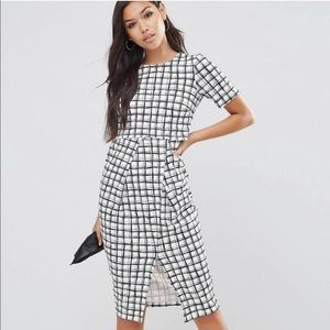 NWT ASOS Wiggle Dress In Check Print